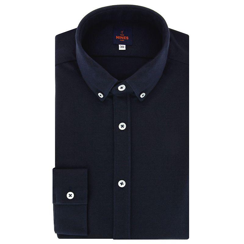 Navyblaues Baumwoll-Piqué Hemd mit Button-Down-Kragen