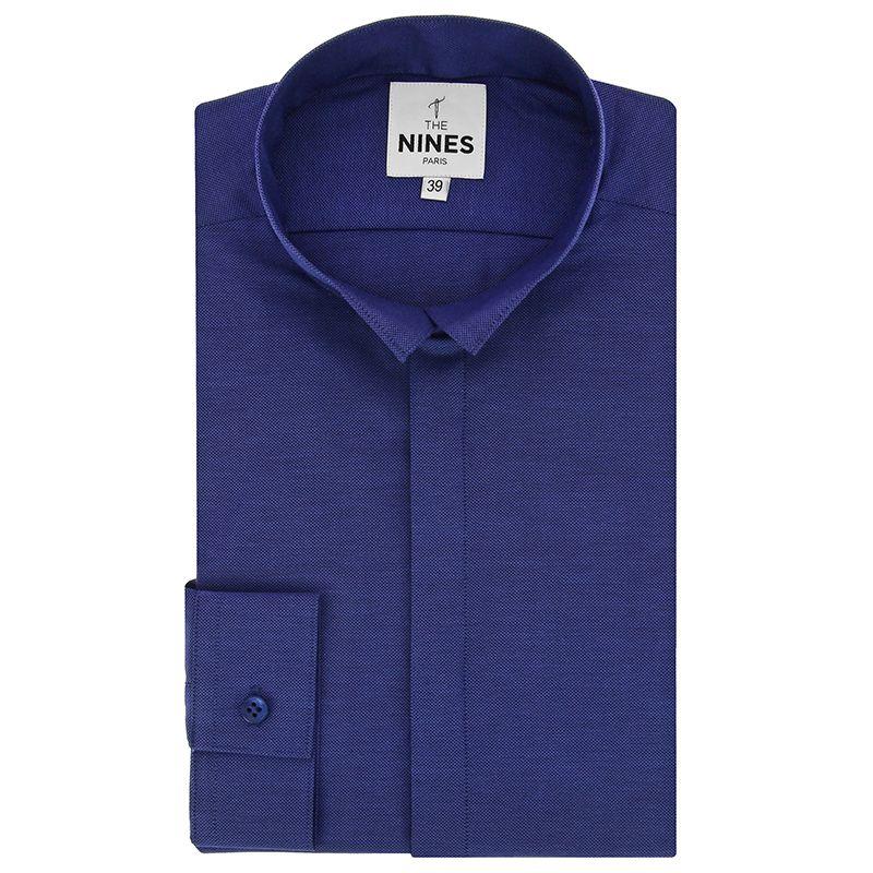 Dunkelblaues Oxford Hemd mit Umkehrkragen