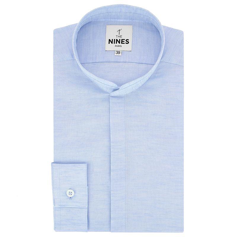 Hellblaues meliertes Leinenhemd mit Mandarinkragen