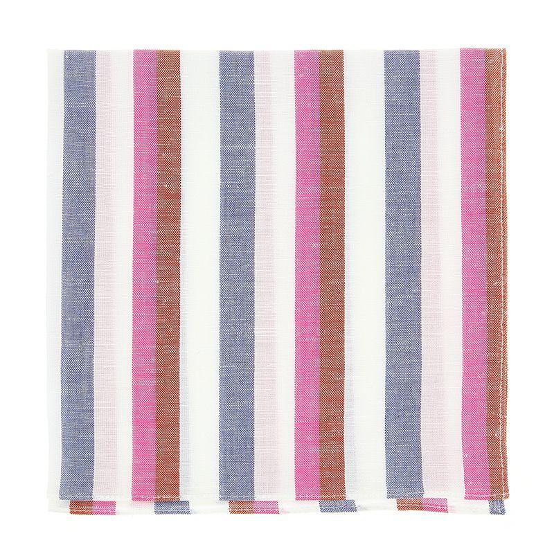 Extrem Blau-Rotes Streifen Einstecktuch aus Leinen und Baumwolle GZ22