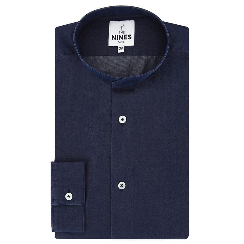 Blaues Lyocell-Chambray Hemd mit Mandarinkragen