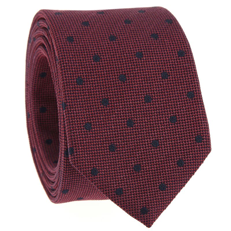 Bordeauxfarbene Krawatte mit Punkten aus gesprenkelter Seide
