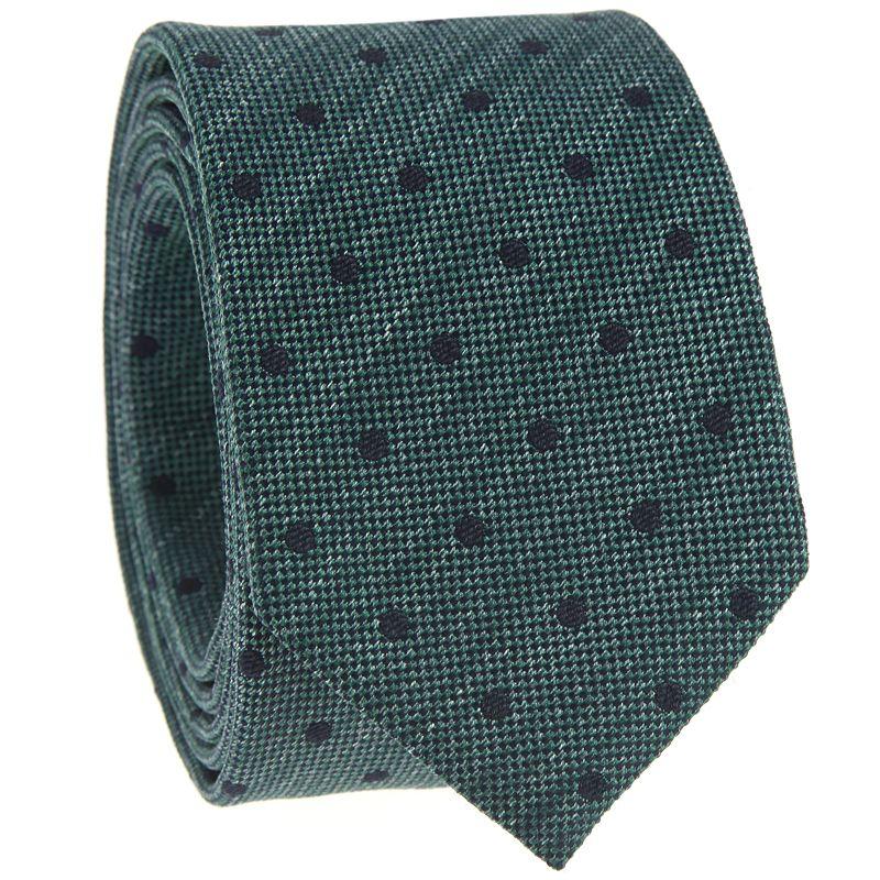 Grüne Krawatte mit Punkten aus gesprenkelter Seide