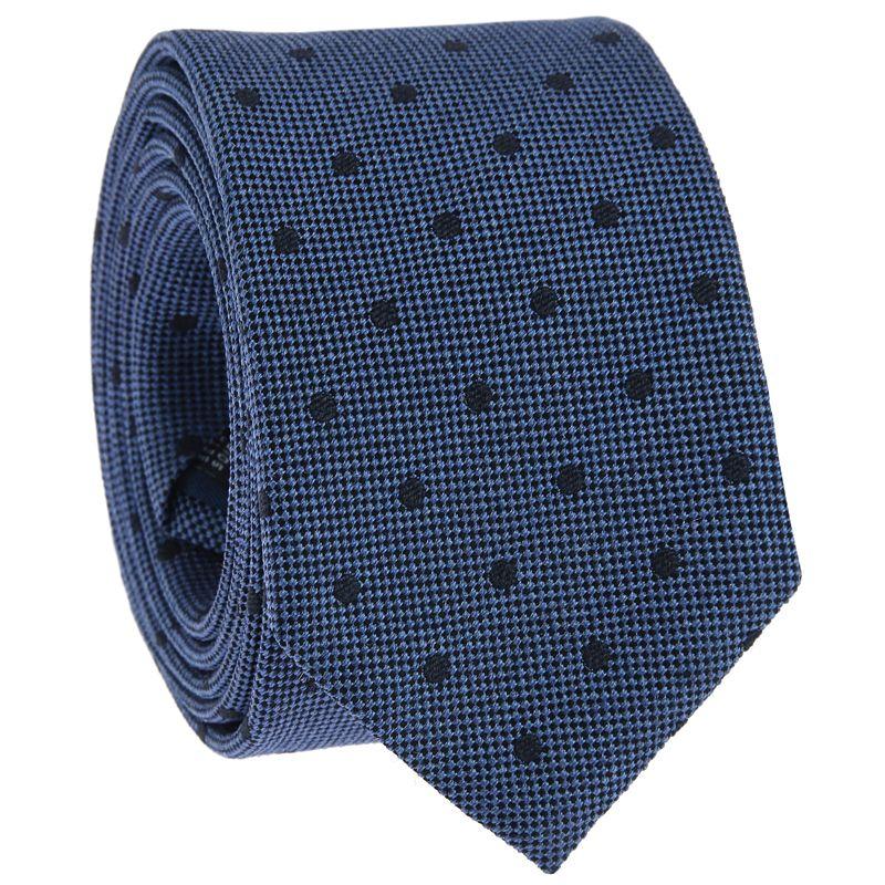 Blaue Krawatte mit Punkten aus gesprenkelter Seide