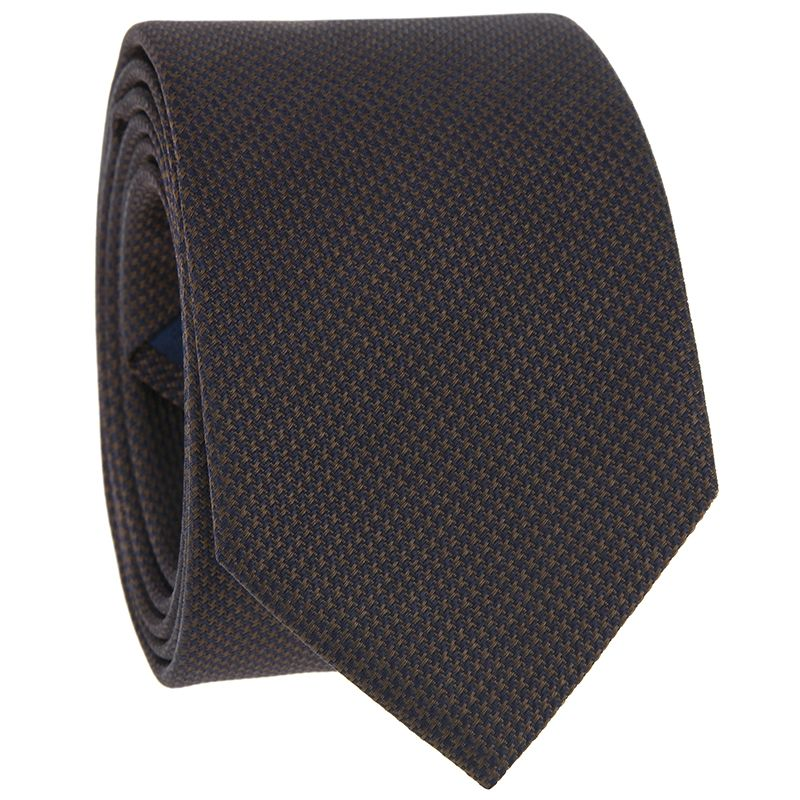 Braune Krawatte mit Hahnentrittmuster aus Jacquardseide