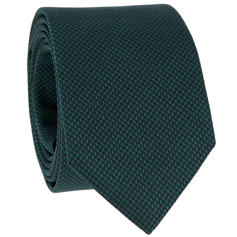 Grüne Krawatte mit Hahnentrittmuster aus Jacquardseide