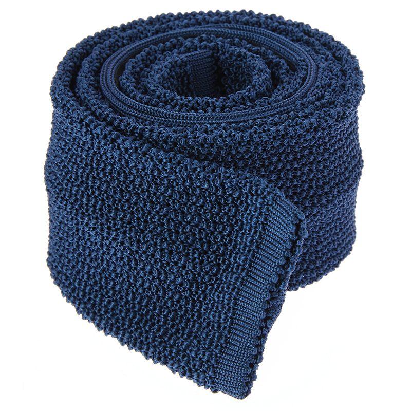 Blaue Strickkrawatte aus Seide - Crunchy