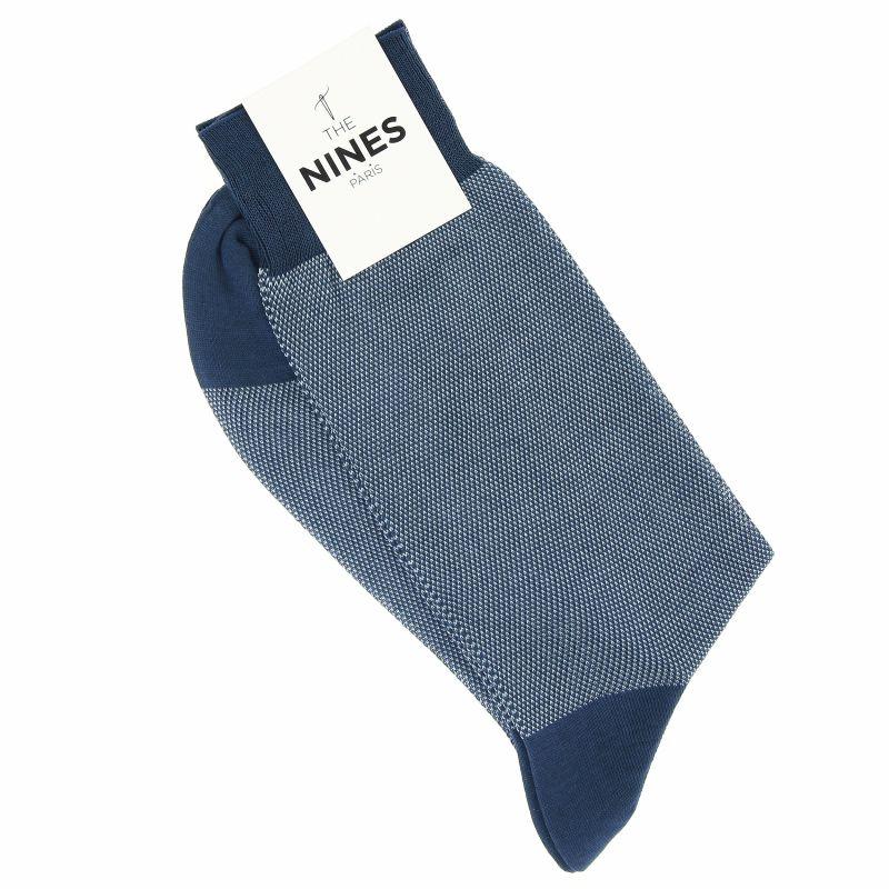 Stahlblaue Fil d'Ecosse Socken mit Hellblauem Birdseye-Muster
