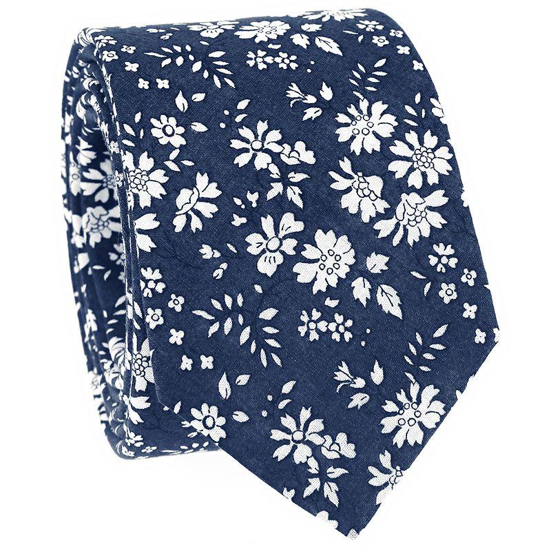Marineblaue Krawatte mit weissen Blumen aus Liberty-Stoff - Cornflower