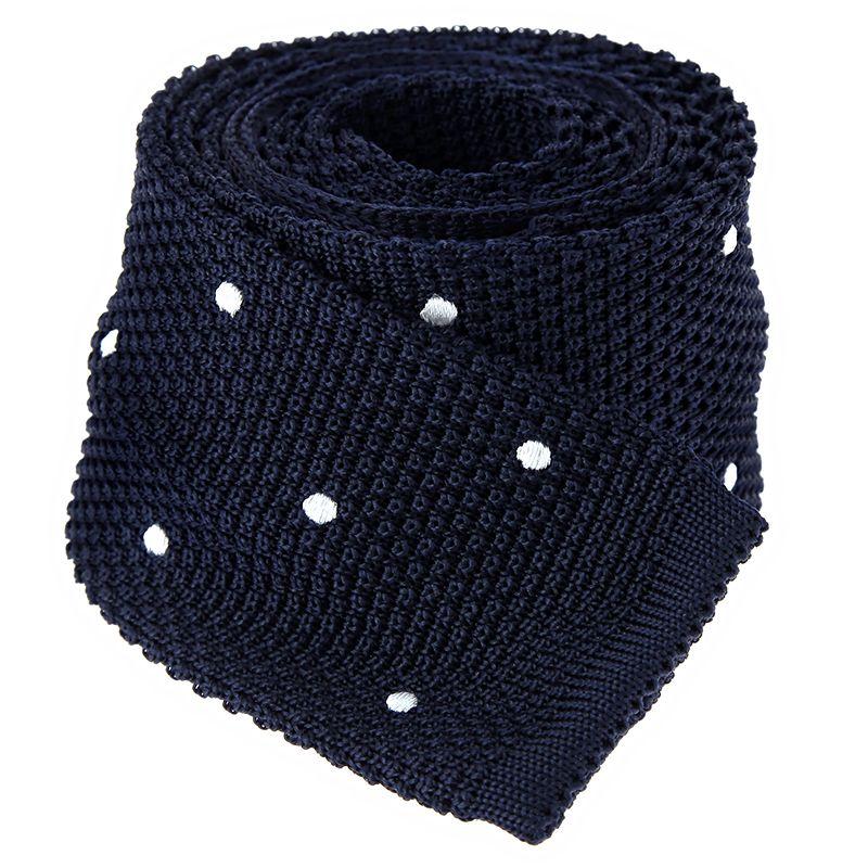 Marineblaue Strickkrawatte aus Seide mit weissen Punkten