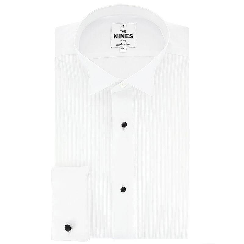 Smoking-Hemd mit plissierter Brust und Kläppchenkragen