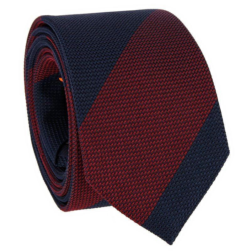Grenadine Krawatte Marineblau und Bordeaux gestreift