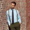 Retro-chic Hemden - hellblau und Rundkragen