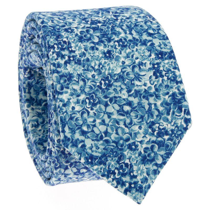 Blaue Krawatte mit Blumen aus Liberty - Osaka