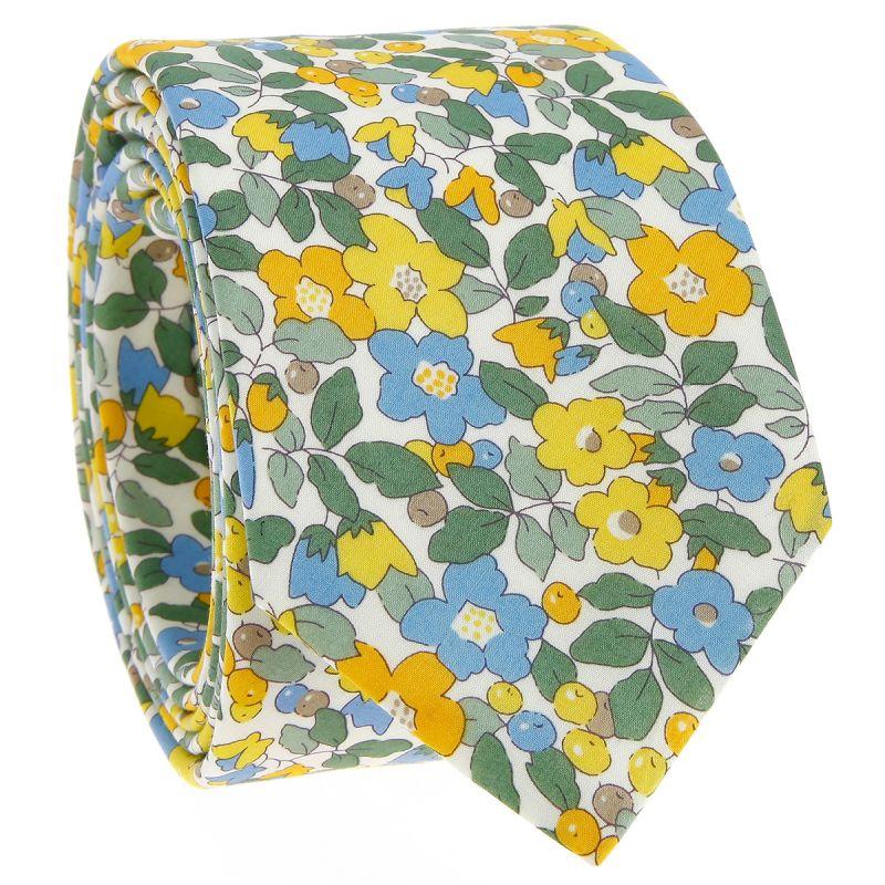 Gelbe Krawatte mit Blumen aus Liberty - Currant