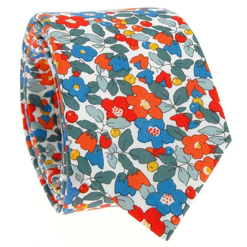 Koralle Krawatte mit Blumen aus Liberty - Currant
