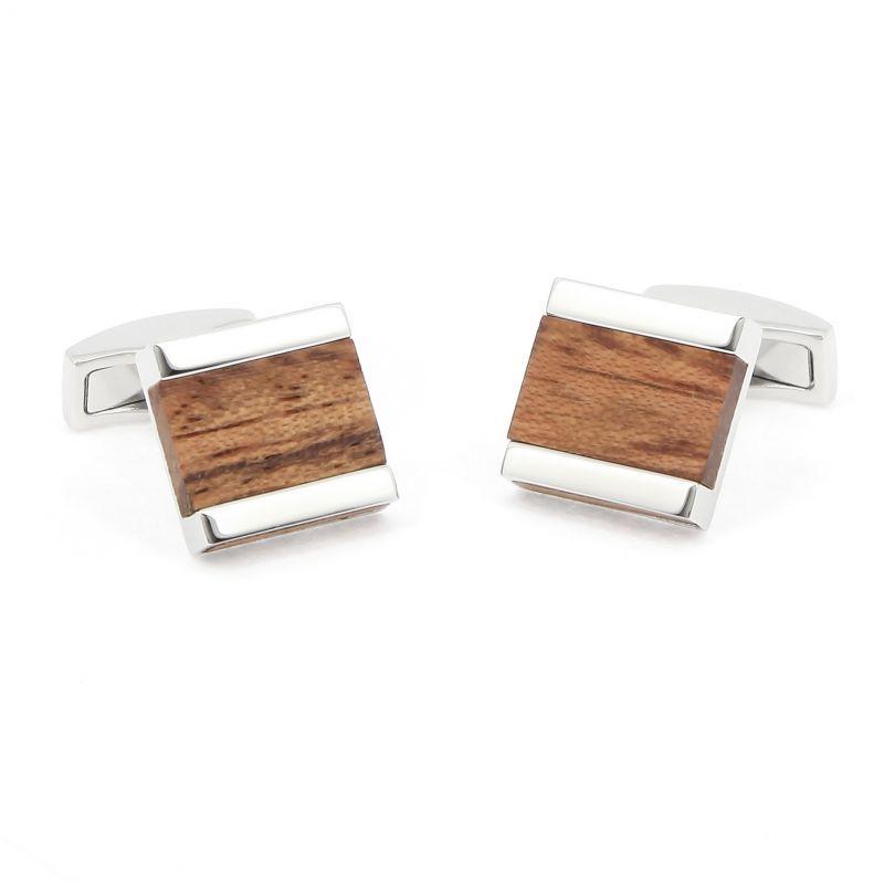 Quadratische Holz-Manschettenknöpfe aus bubinga - Minkebe