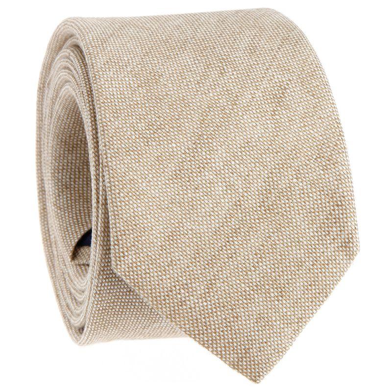 Beigefarbene Krawatte aus Leinen