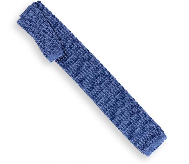 Ascot blaue Strickkrawatte