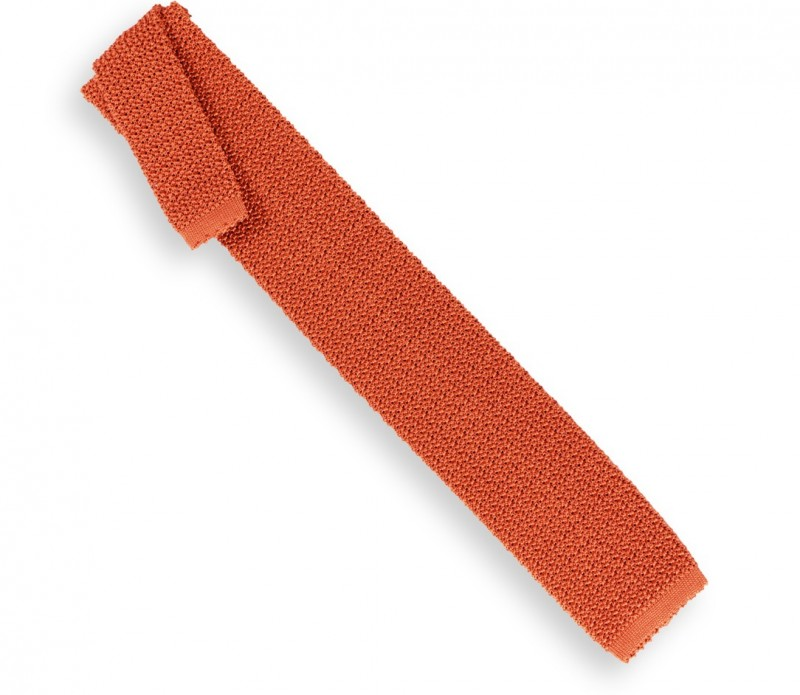 Ascot orange Strickkrawatte