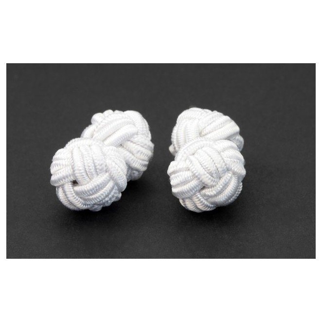 Weiße Textilkugel Manschettenknöpfe - Bombay