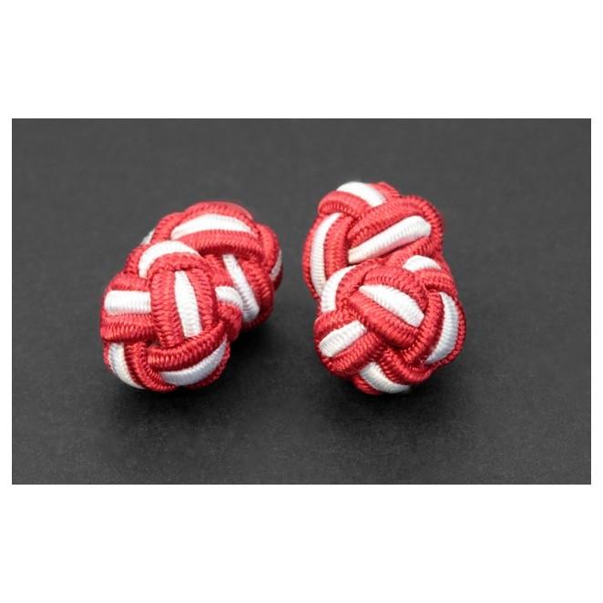 Rote und weiße Textilkugel Manschettenknöpfe - Bombay