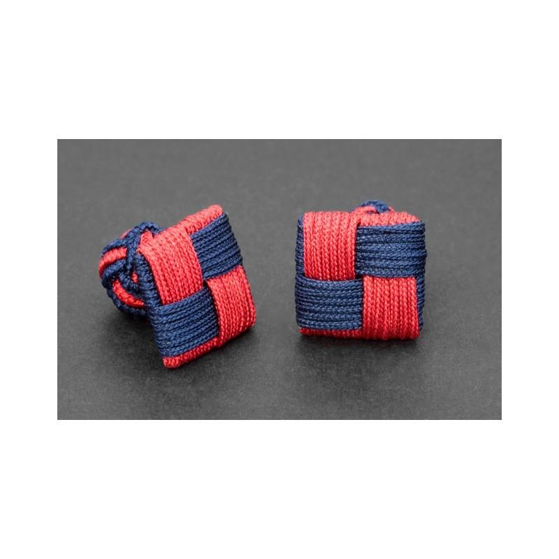 Marineblau/rote, rechteckige Textilkugel Manschettenknöpfe - Manila