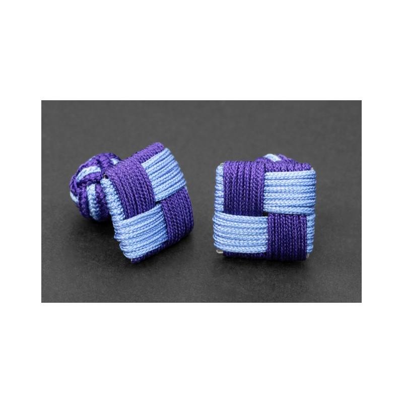 Hellblau/violette, rechteckige Textilkugel Manschettenknöpfe - Manila