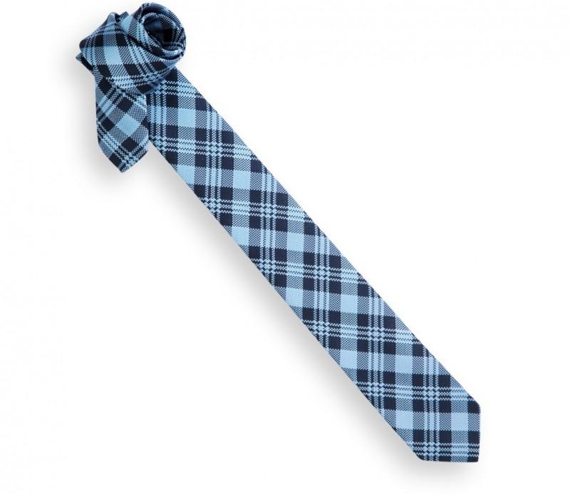 Blau und Marineblaue Tartan Slim-Krawatte - Oban