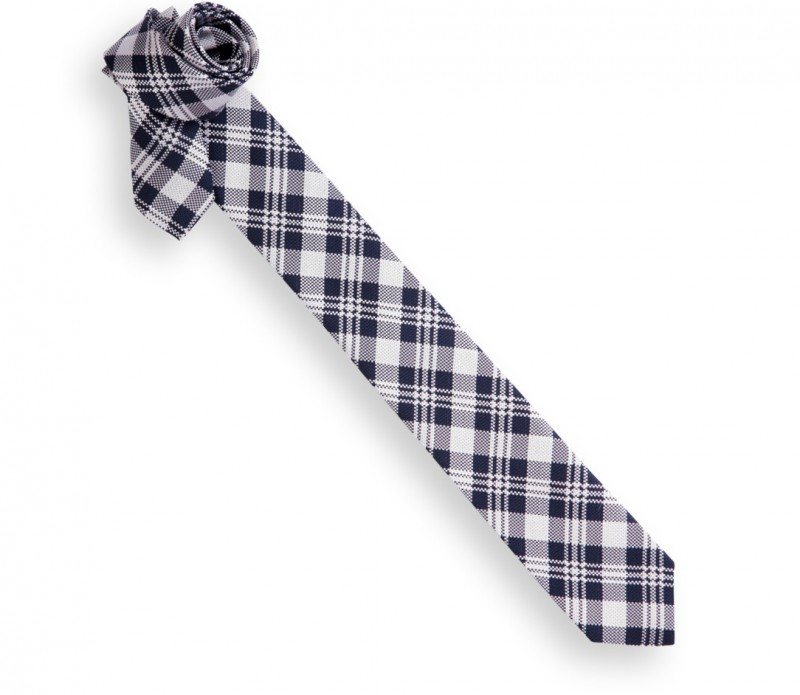 Grau und Marineblaue Tartan Slim-Krawatte - Oban
