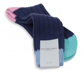 Blaue Kaschmirsocken Richard James