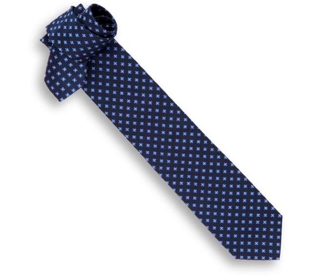 Marineblaue Hackett Krawatte mit Blauen Blumen Streifen