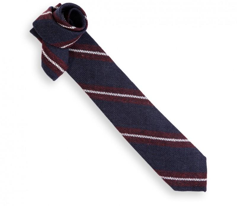 Marineblaue Héritage Krawatte mit burgundroten und weissen Streifen - Wexford
