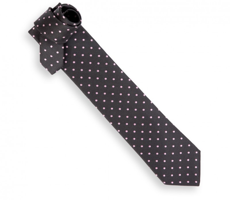 Anthrazitgraue Héritage Krawatte mit rosa Punkten - Paris