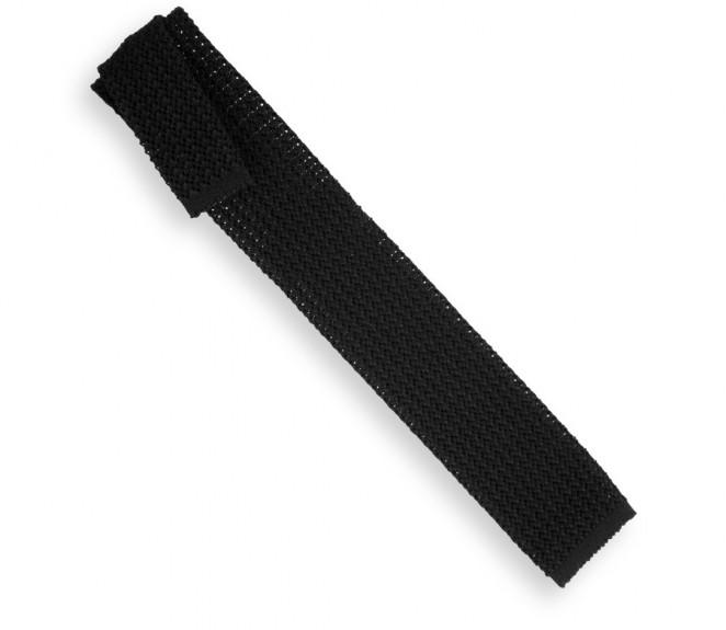 Schwarze Ascot Krawatte aus Strickwolle