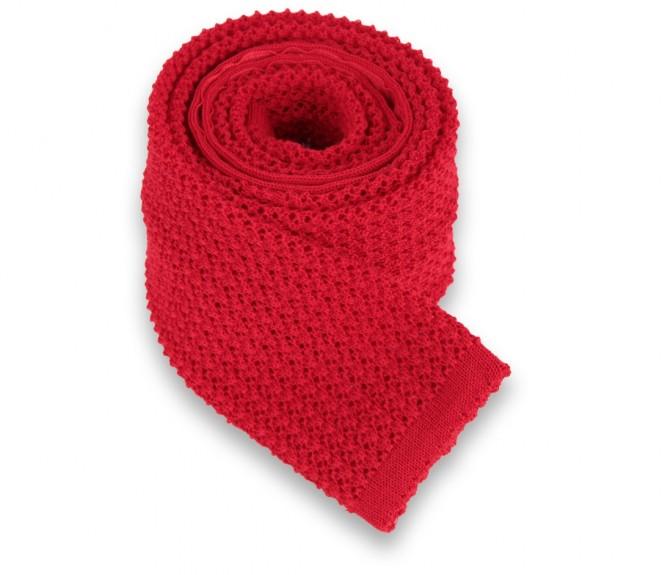 Rote Ascot Krawatte aus Strickwolle