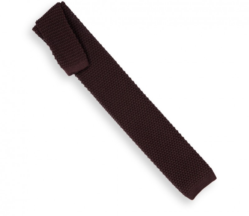 Schokoladenfarbene Strickkrawatte - Monza III