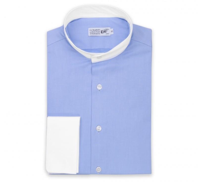 popeline hemd mit umschlagmanschette mit wei em stehkragen haus der herren hemden. Black Bedroom Furniture Sets. Home Design Ideas
