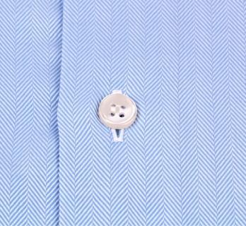 Himmelblaues slim-fit Fischgr?ten Hemd mit Umschlagmanschette mit italienischem Kragen