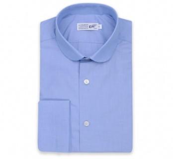 Blaues Ton in Ton slim-fit Hemd mit Umschlagmanschette mit rundem Kragen