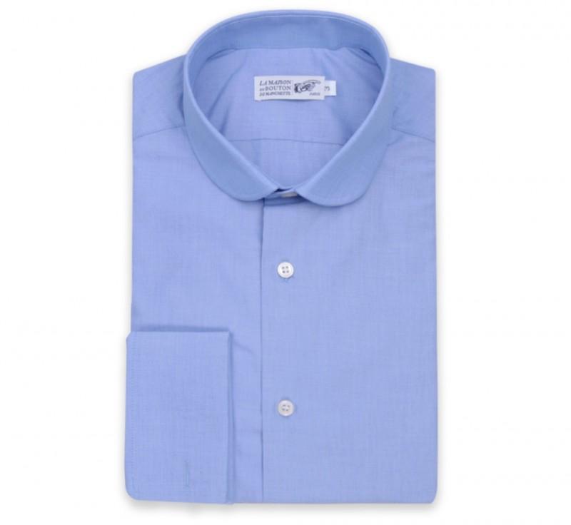 slim fit hemd mit umschlagmanschette mit rundem kragen haus der herren hemden. Black Bedroom Furniture Sets. Home Design Ideas