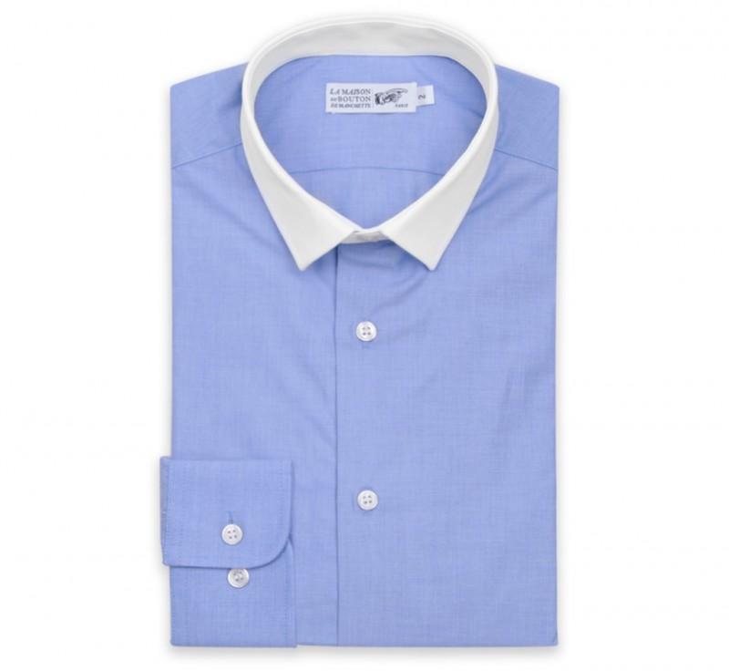 blaues ton in ton slim fit hemd mit umschlagmanschette mit kleinem weissem kragen. Black Bedroom Furniture Sets. Home Design Ideas