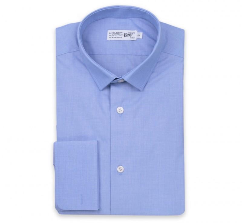 Blaues Ton in Ton slim-fit Hemd mit Umschlagmanschette mit kleinem Kragen