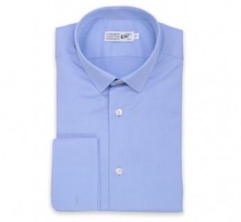 Blaues slim-fit Popeline-Hemd mit Umschlagmanschette mit kleinem Kragen