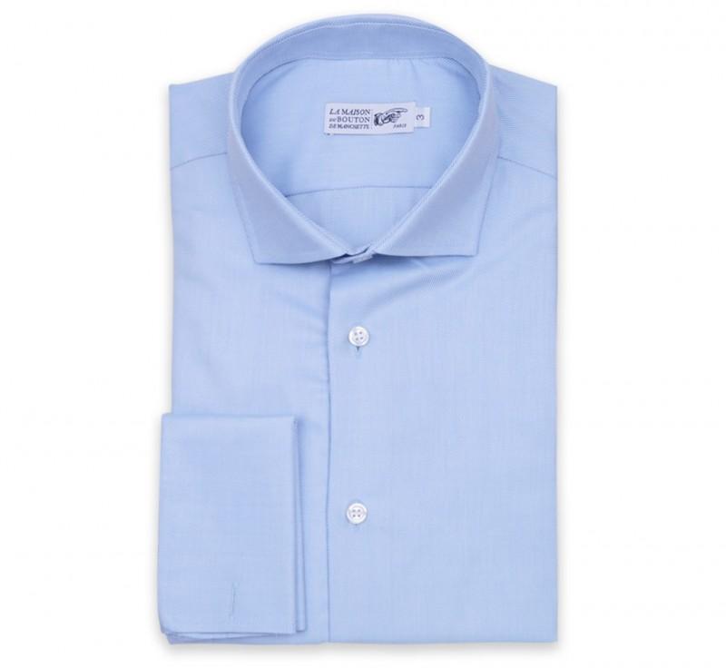 Blaues regular-fit Twill-Hemd mit Umschlagmanschette mit neapolitanischem Kragen