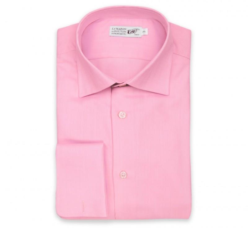 Rosa Fischgr?ten slim-fit Hemd mit Umschlagmanschette mit italienischem Kragen