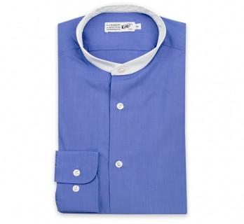 Dunkelblaues Ton in Ton slim-fit Hemd mit wei?em rundem Stehkragen und einfachen Manschetten