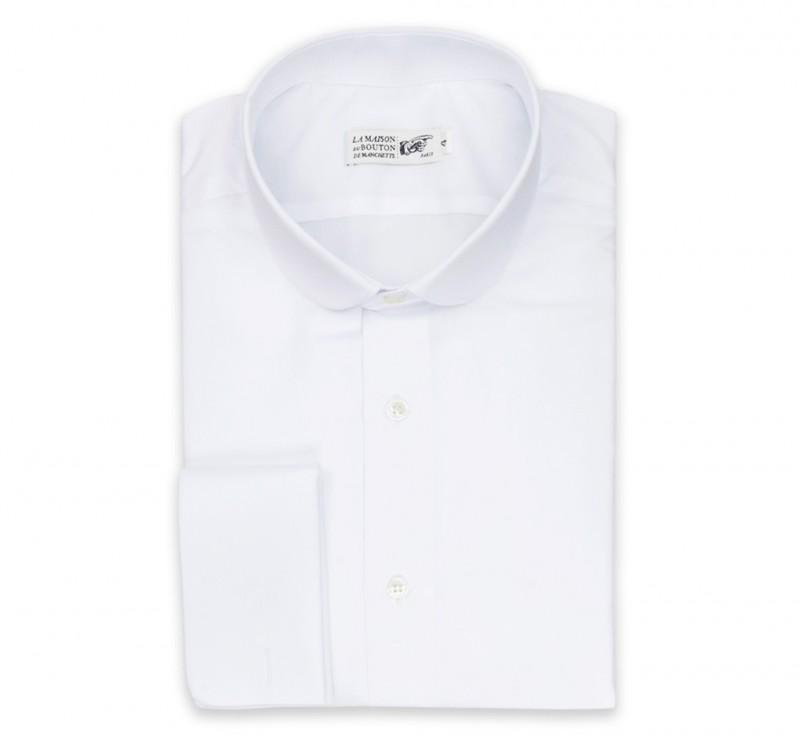 weisses slim fit popeline hemd mit umschlagmanschette mit rundem kragen. Black Bedroom Furniture Sets. Home Design Ideas