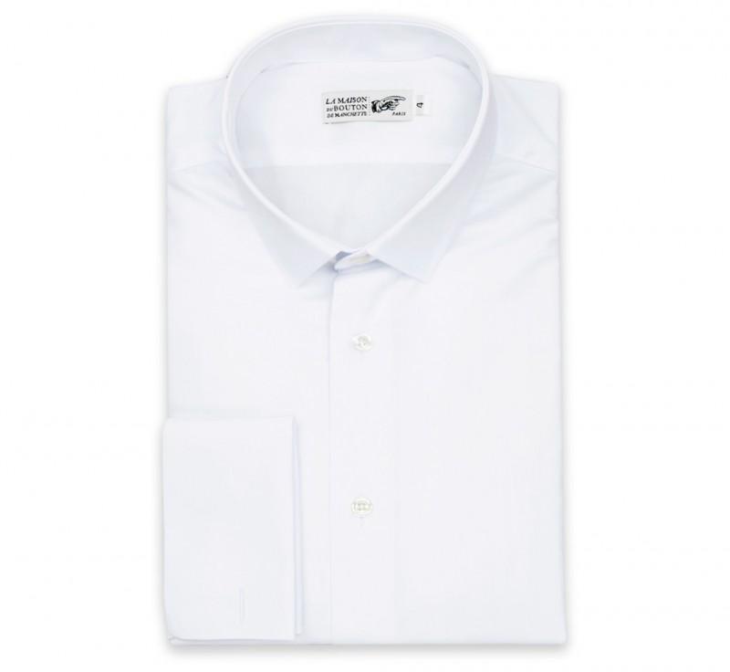 Weisses slim-fit Popeline-Hemd mit Umschlagmanschette mit kleinem Kragen