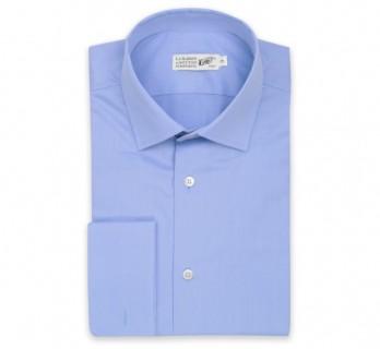 Blaues regular-fit Popeline-Hemd mit Umschlagmanschette mit italienischem Kragen